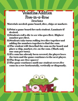 FREE Valentine Addition 5-in-a-Row!