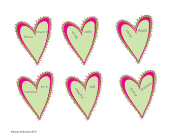 FREE Valentine Broken Heart Opposites for Speech Therapy Vocabulary