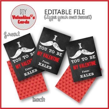 FREE Valentine Card Printable Mustaches Editable PDF