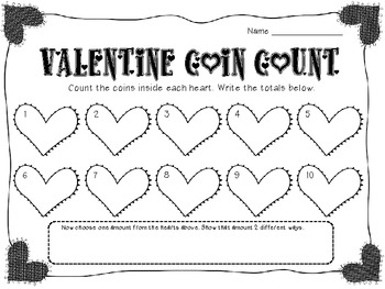 FREE Valentine Coin Count and Pretty Parts of Speech