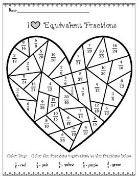 FREE Valentine Equivalent Fractions