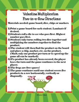 FREE Valentine's Day Multiplication 5-in-a-Row