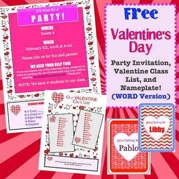 FREE Valentine Party Name Plate And Class List Templates WORD - Class party invitation template