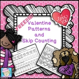 Valentine's Day Math Worksheets Skip Counting and Patterns FREE