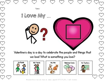 FREE- Valentine's Day Adapted Worksheet
