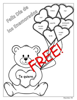 FREE!!! Valentine\'s Day Coloring Page with Spanish Color Words by ...