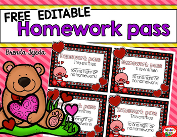 photograph regarding Free Printable Homework Pass named Absolutely free Valentines Working day Research Pes: Editable