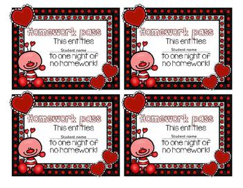 FREE Valentine's Day Homework Passes: Editable