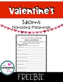 FREE Valentine's Day Idiom Practice Worksheet: Literal vs
