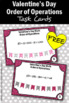 FREE Valentine's Day Math Activities, 5th Grade Order of Operations Task Cards