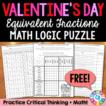 FREE Valentine's Day Math Logic Puzzle: Equivalent Fractions