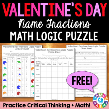 FREE Valentine's Day Math Logic Puzzle: Name Fractions