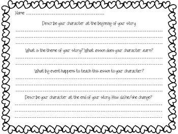 Valentine's Day Roll and Write to Review Theme and Story Elements