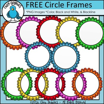 FREE Circle Frilly Frames Clip Art Set - Chirp Graphics