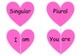 FREE Valentine's day verb 'to be' present and past tense heart match