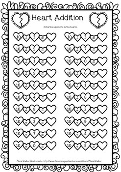 Valentines Addition  Worksheets Ten + Ones , Ten and One Addition, Teen Addition