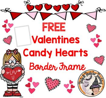 FREE Valentines Candy Hearts Border Frame Black and White PDF
