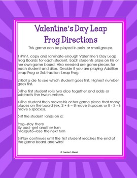 FREE Valentine's Day Addition and Subtraction Leap Frog!