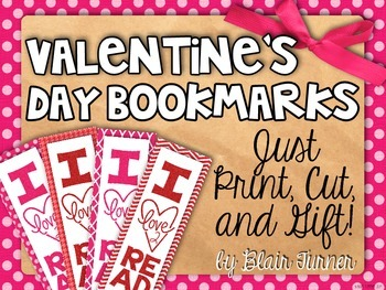 {FREE!} Valentine's Day Bookmarks - I LOVE To Read! Just Print, Cut, and Gift!