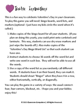 FREE Valentine's Day Candy Hearts Bingo Game