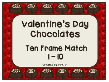 FREE Valentine's Day Chocolates - Ten Frame Match