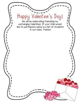 Free Valentine S Day Class List By Mrsbodkinsblackboard Tpt