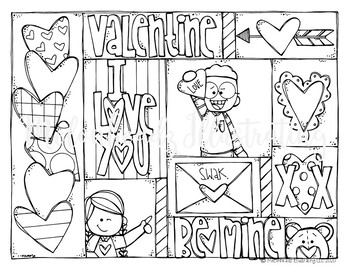 FREE Valentines Day Coloring Page - by Melonheadz Clipart