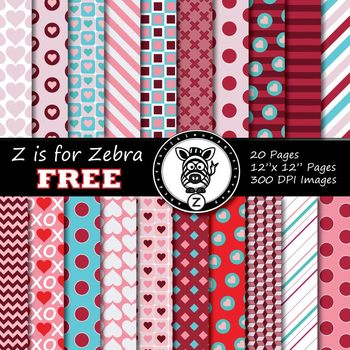 FREE Valentines Day Digital Paper (20 pages) - Commercial Use OK!  ZisforZebra