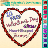 Valentine's Day Border Clip Art {Free Glitter Heart Frames for Resources}