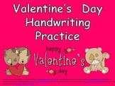 FREE Valentine's Day Handwriting Practice- Kindergarten & First Grade