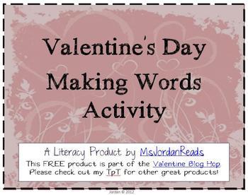FREE Valentine's Day Making Words Activity