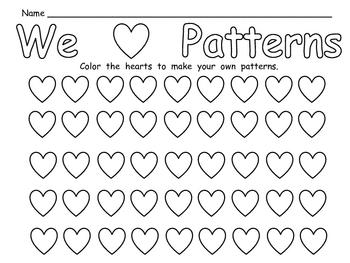 free valentine 39 s day patterns practice page for kindergarten tpt. Black Bedroom Furniture Sets. Home Design Ideas