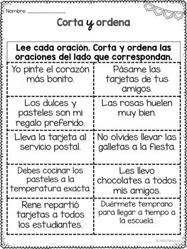 FREE Valentine's Day - Sentence Sort {SPANISH}