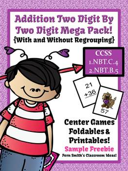 St. Valentine's Day Two Digit By Two Digit Addition Center Game and More Freebie