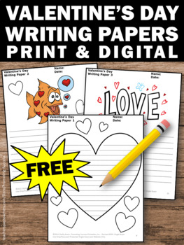 FREE Valentine's Day Creative Writing Papers for Literacy Center Activities
