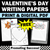 FREE Valentine's Day Writing Papers for Literacy Center Activities