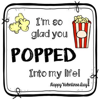FREE Valentines Gift Tag- Popcorn