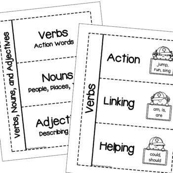 FREE Verb, Noun & Adjective Interactive Notebooks (Grammar Flip Books)!