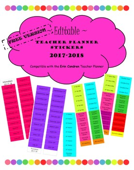 Free Version Editable 2017 18 Teacher Planner Stickers For Erin Condren