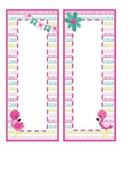 FREE Vertical Flamingo Labels - Editable