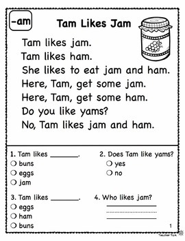 Kindergarten Reading Comprehension FREE!