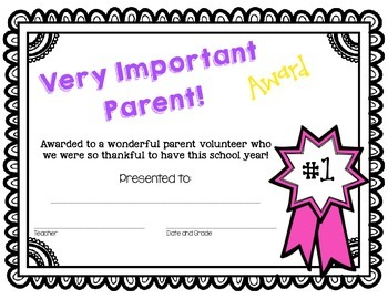 *FREE* Very Important Parent End of Year Awards