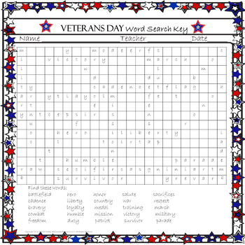 FREE Veterans Day Word Search Freebie