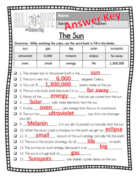 Bill Nye - The Sun Video Guide, Worksheets