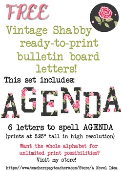FREE Vintage Shabby Roses Bulletin Board Ready-to-Print AGENDA letters!