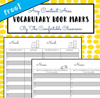 FREE Vocabulary Bookmark