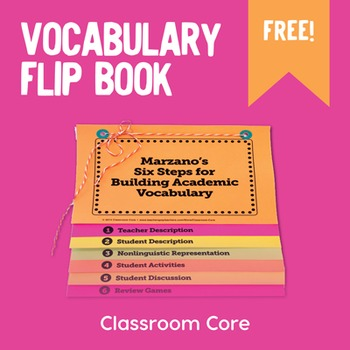 FREE Vocabulary Flip Book  for Marzano's Six Steps
