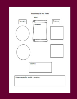 FREE Vocabulary Word Scroll--Vocabulary & Reading Comprehension Strategy