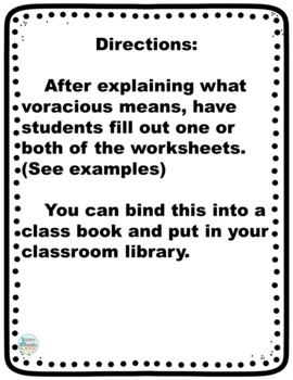 FREE Voracious Vocabulary Worksheets