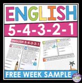 FREE WEEK OF ENGLISH BELL RINGERS OR HOMEWORK